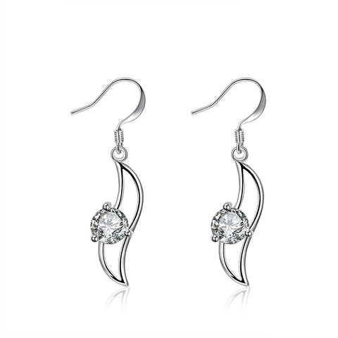 18K White Gold Plated Curved Pendant Earring
