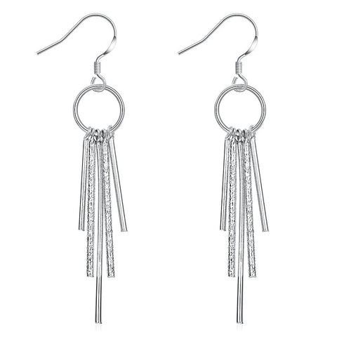18K White Gold Plated Drop Crystals Earring