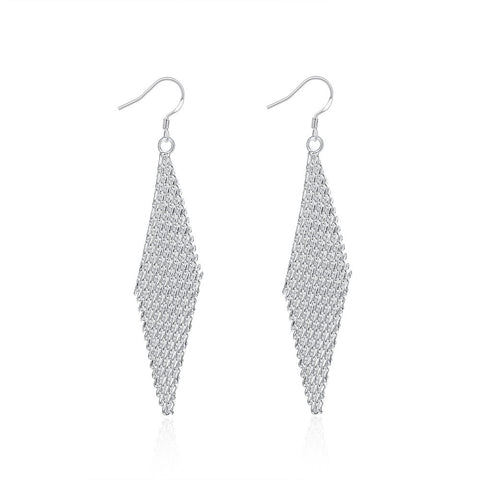 18K White Gold Plated Drop Triangular Earring - CheckaBaby