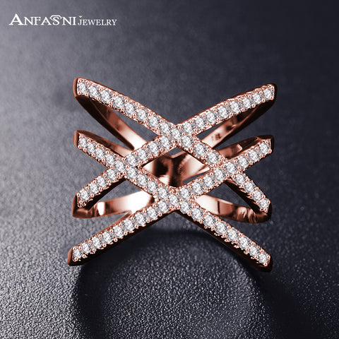 Hot!  Fashion Rings for Women Double Letter X Shape Ring Zirconia Micro Paved Women - CheckaBaby