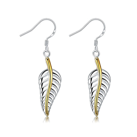 Doves Feather Earring in White Gold Plated - CheckaBaby