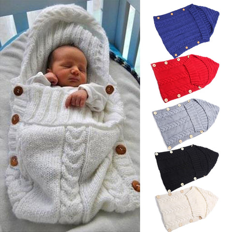 Baby Swaddle Wrap Warm Woolen Crochet Knitted Newborn Infant Sleeping Bag Baby Swaddling Blanket Sleep Bags baby blanket newborn - CheckaBaby