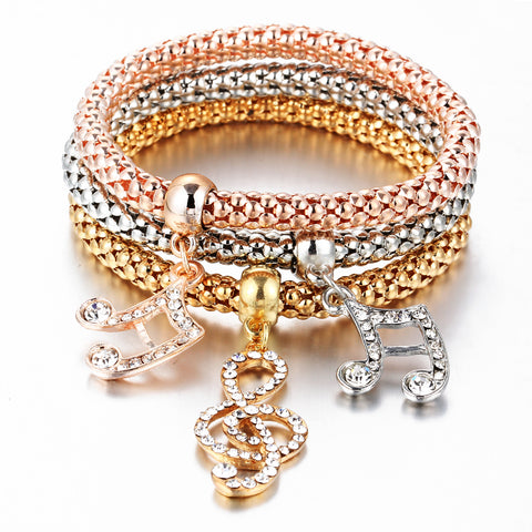 3Pcs/set Crystal Music Bracelet Rhinestone Charm Skull Gold Color Heart Party Jewellery Bracelets & Bangles For Women - CheckaBaby