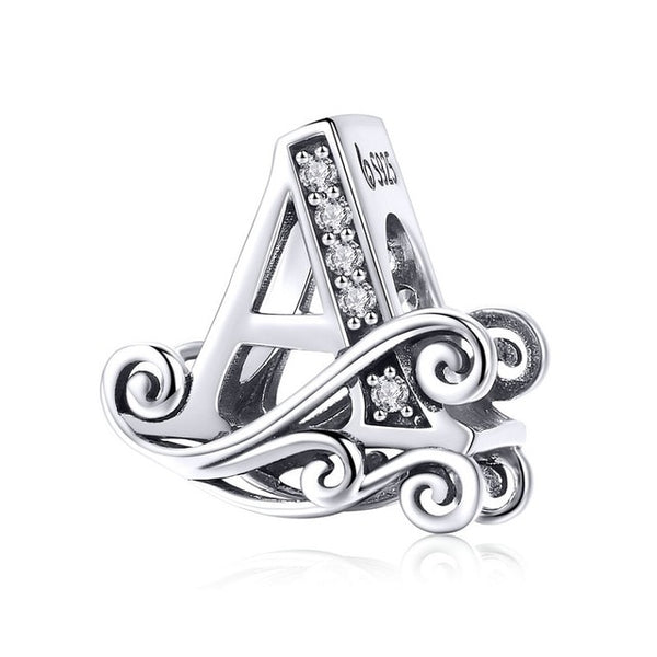 BAMOER  NEW 925 Sterling Silver Vintage A to Z Clear CZ 26 Letter Alphabe Bead Charms Fit Bracelets DIY Jewelry BSC030 - CheckaBaby