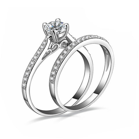 2Pcs/set Silver Crystal Engagement Rings - CheckaBaby