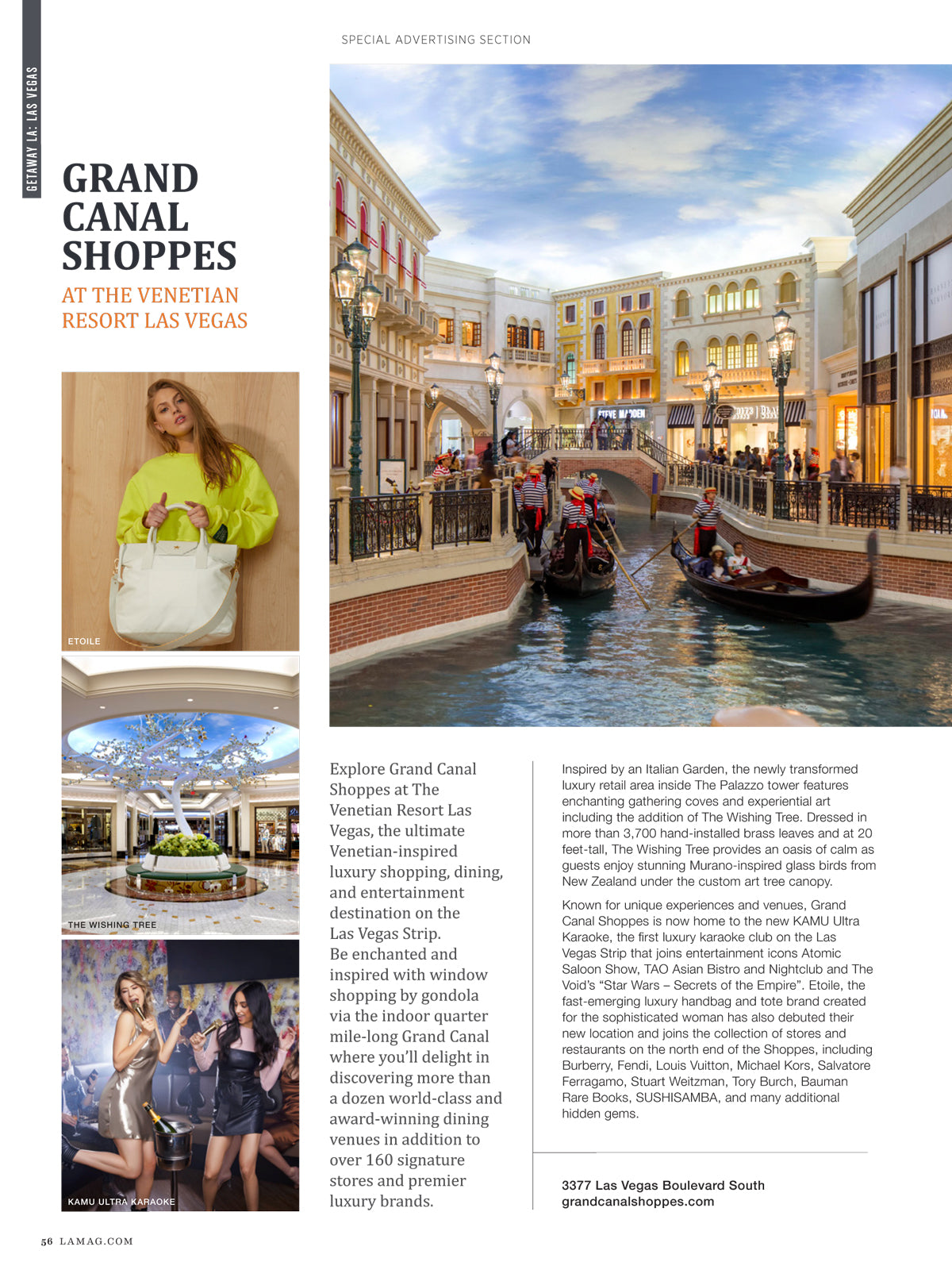 LA Magazine -Grand Canal Shoppes features etoile