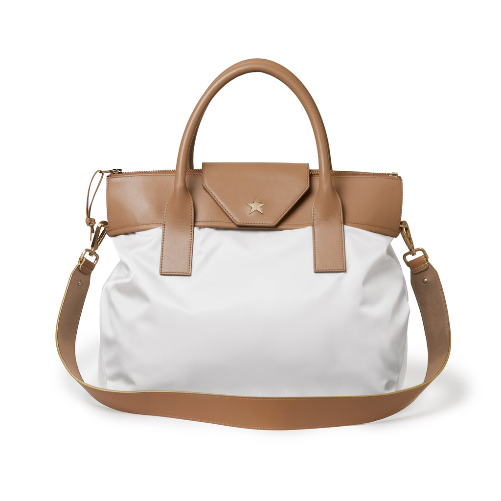 Alessia Large Nylon Tote White / Tan