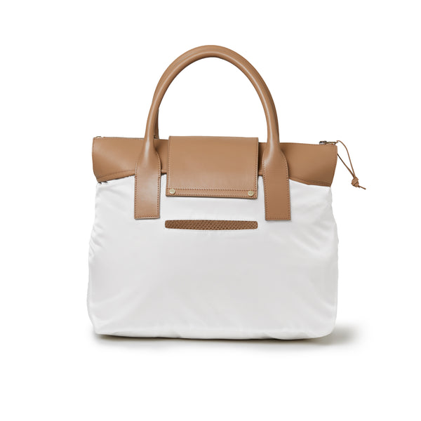 Rachel Medium Tote White / Tan