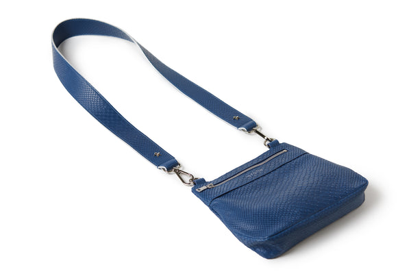 Crossbody Embossed Navy Blue / Silver BOA