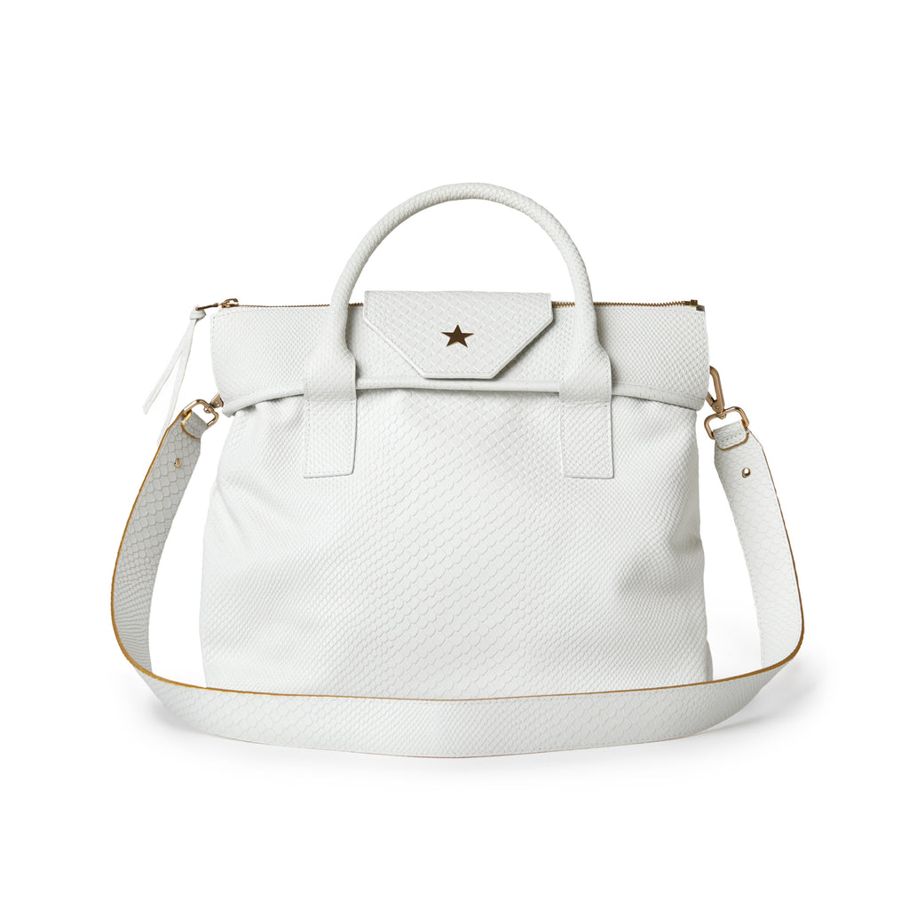 Rachel Medium Boa Tote Embossed White
