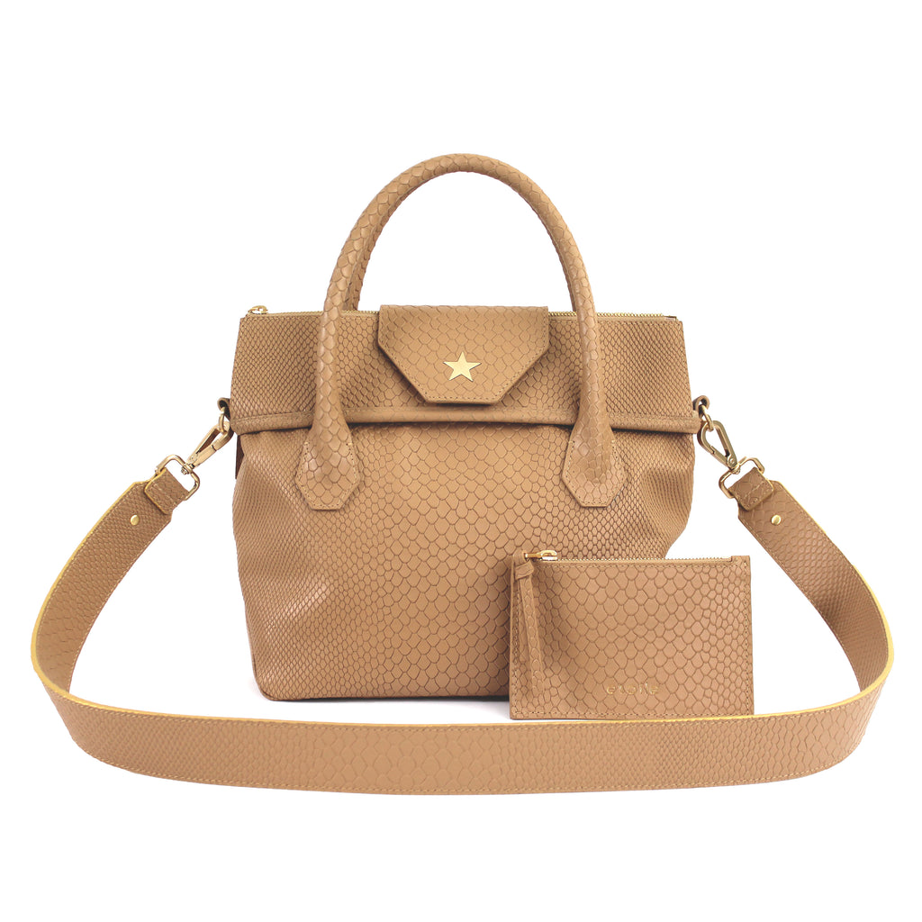 Lucille Mini Boa Tote Embossed Tan