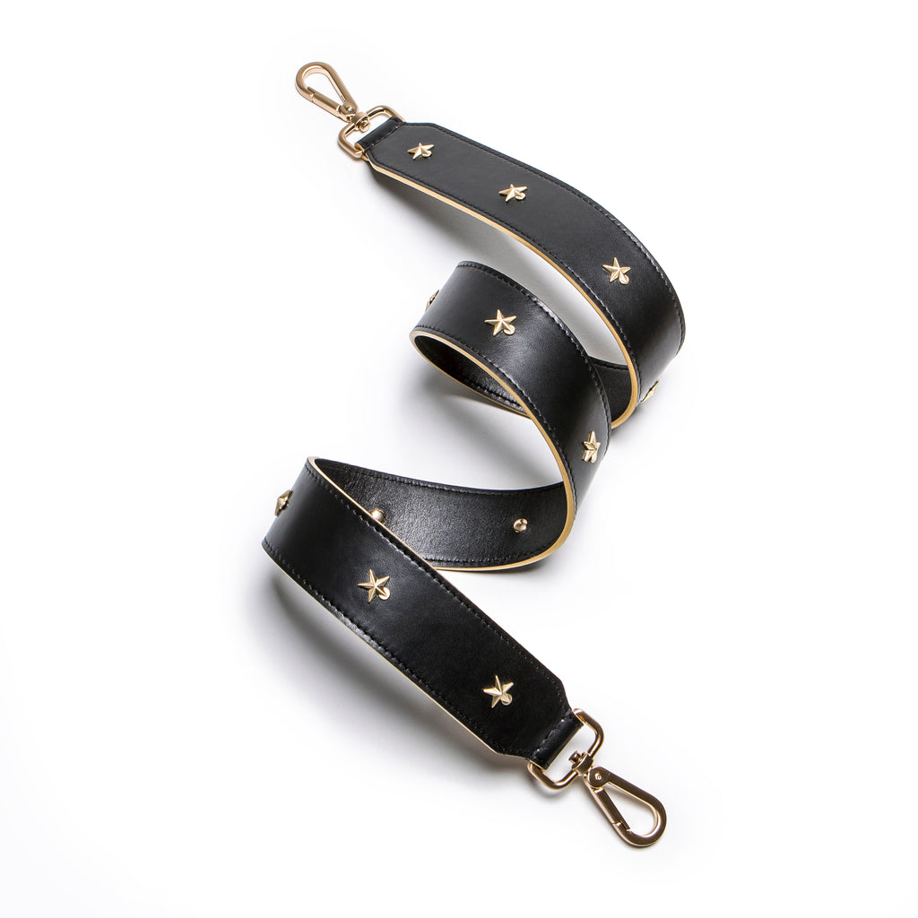 Star Studded Black Leather Shoulder Strap