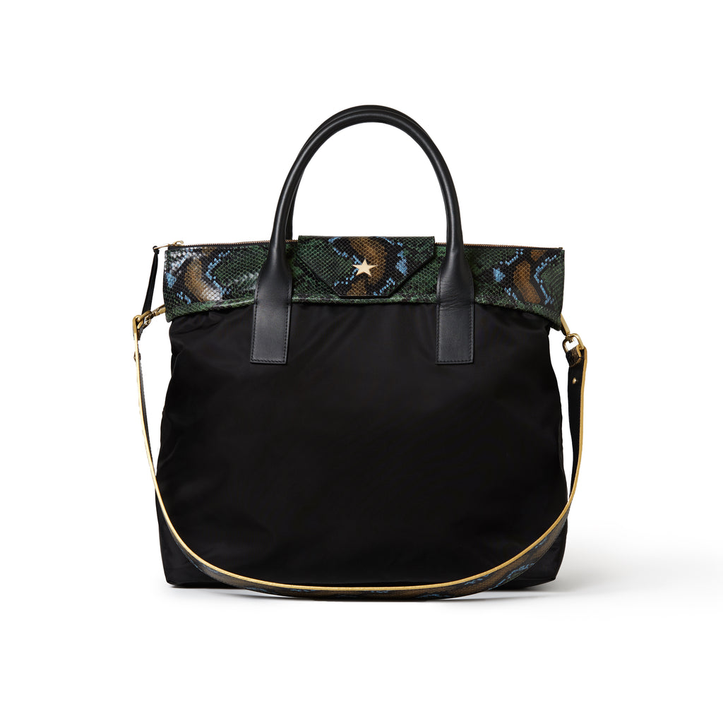 Rachel Medium Tote Black / Wild Green Python