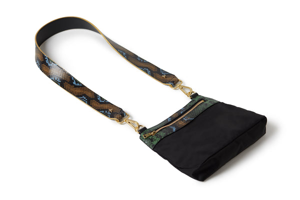 Crossbody Black / Wild Green Python