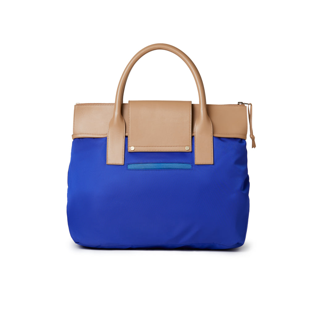 Alessia Large Nylon Tote Royal Blue / Tan