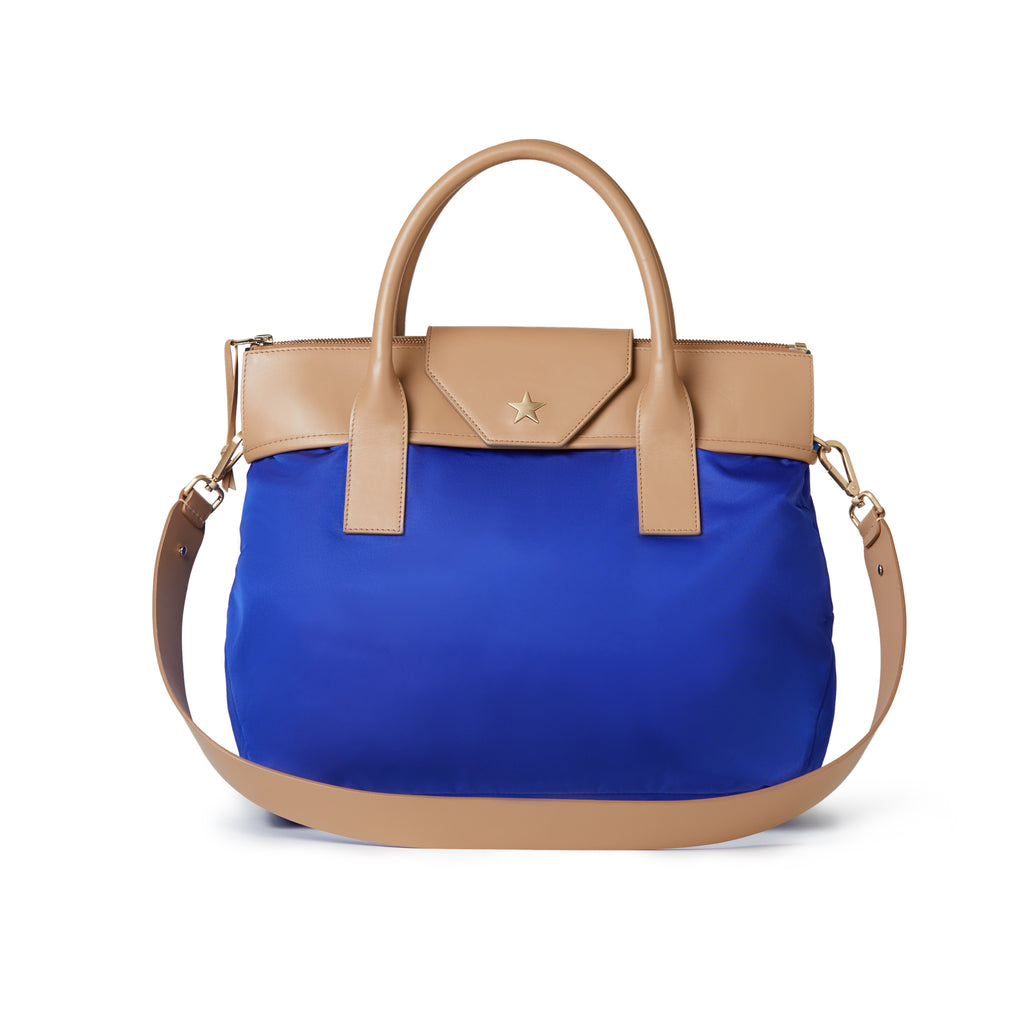 Rachel Medium Nylon Tote Royal Blue / Tan