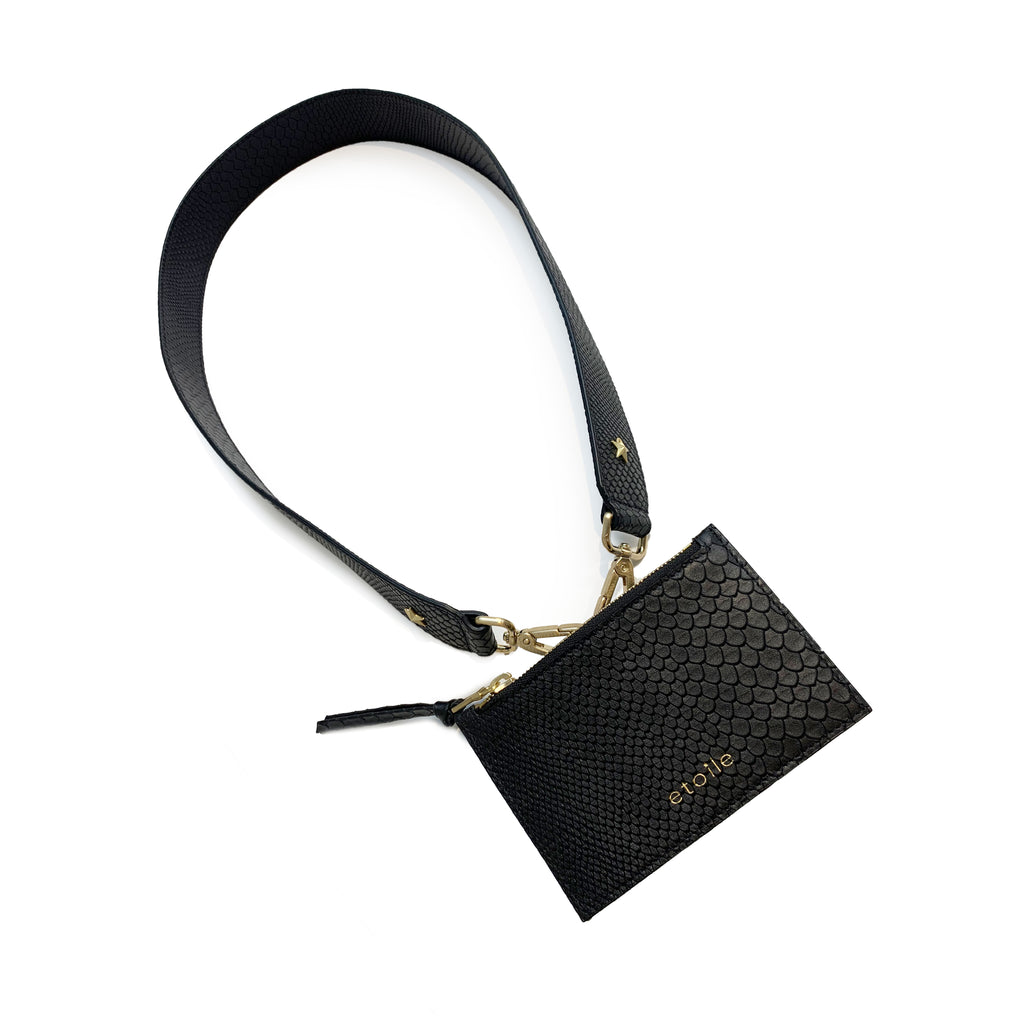 Lucille Mini Nylon Tote Black / Embossed Black Boa