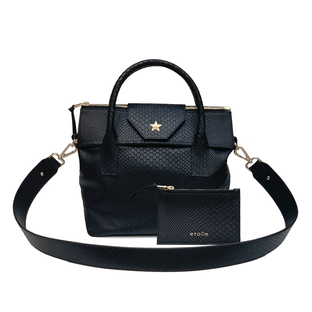 Lucille Mini Boa Tote Embossed Black
