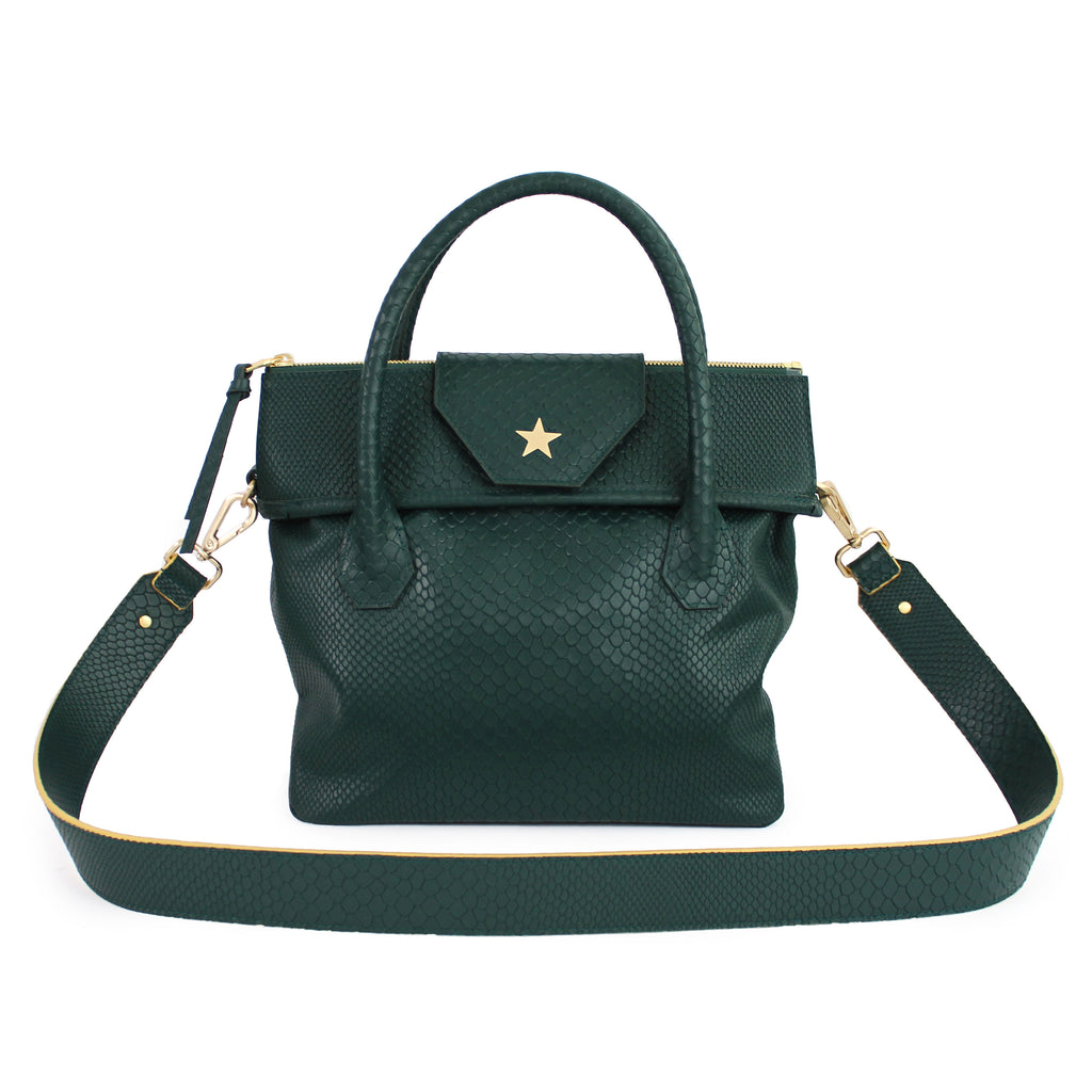 Lucille Mini Boa Tote Embossed Serpentine Green