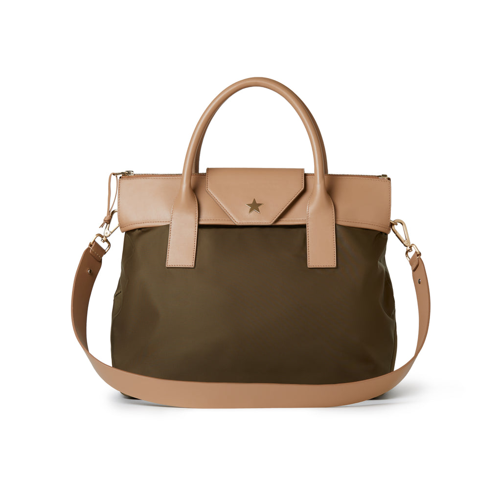 Alessia Large Nylon Tote Kaki / Tan