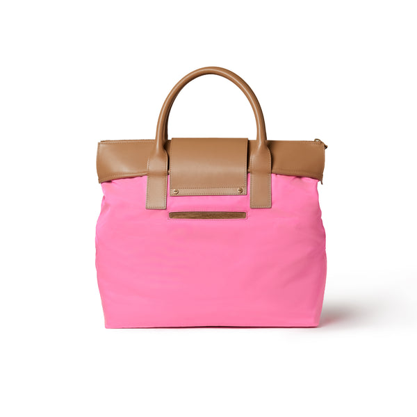 Alessia Large Tote Hot Pink / Tan