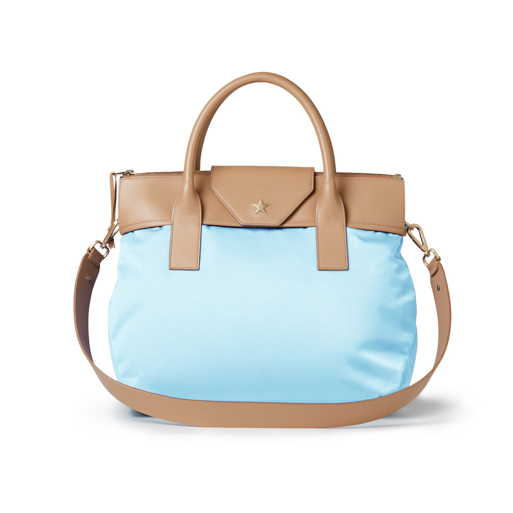 Alessia Large Nylon Tote Light Azzura Blue / Tan
