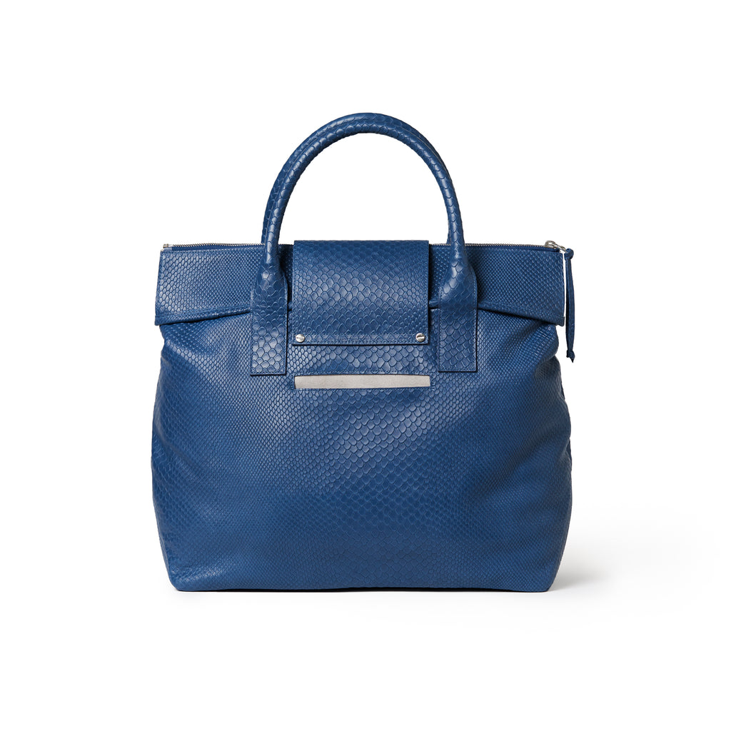 Alessia Large Tote Embossed Navy Blue / Silver BOA