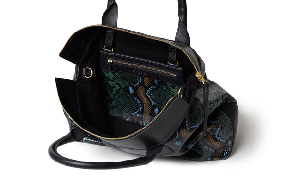 Rachel Medium Tote Wild Green Python/  Black