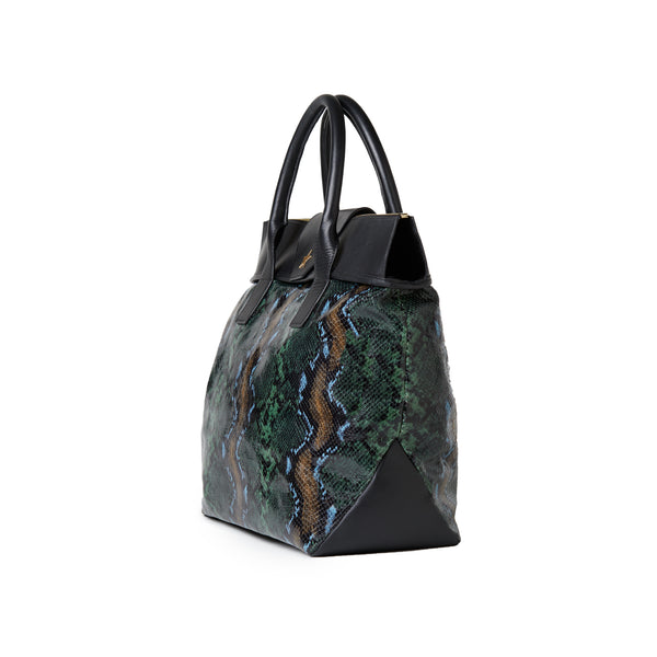 Large Tote Wild Green Python / Black