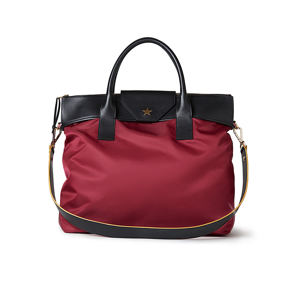 Rachel Medium Nylon Tote Burgundy Red / Black