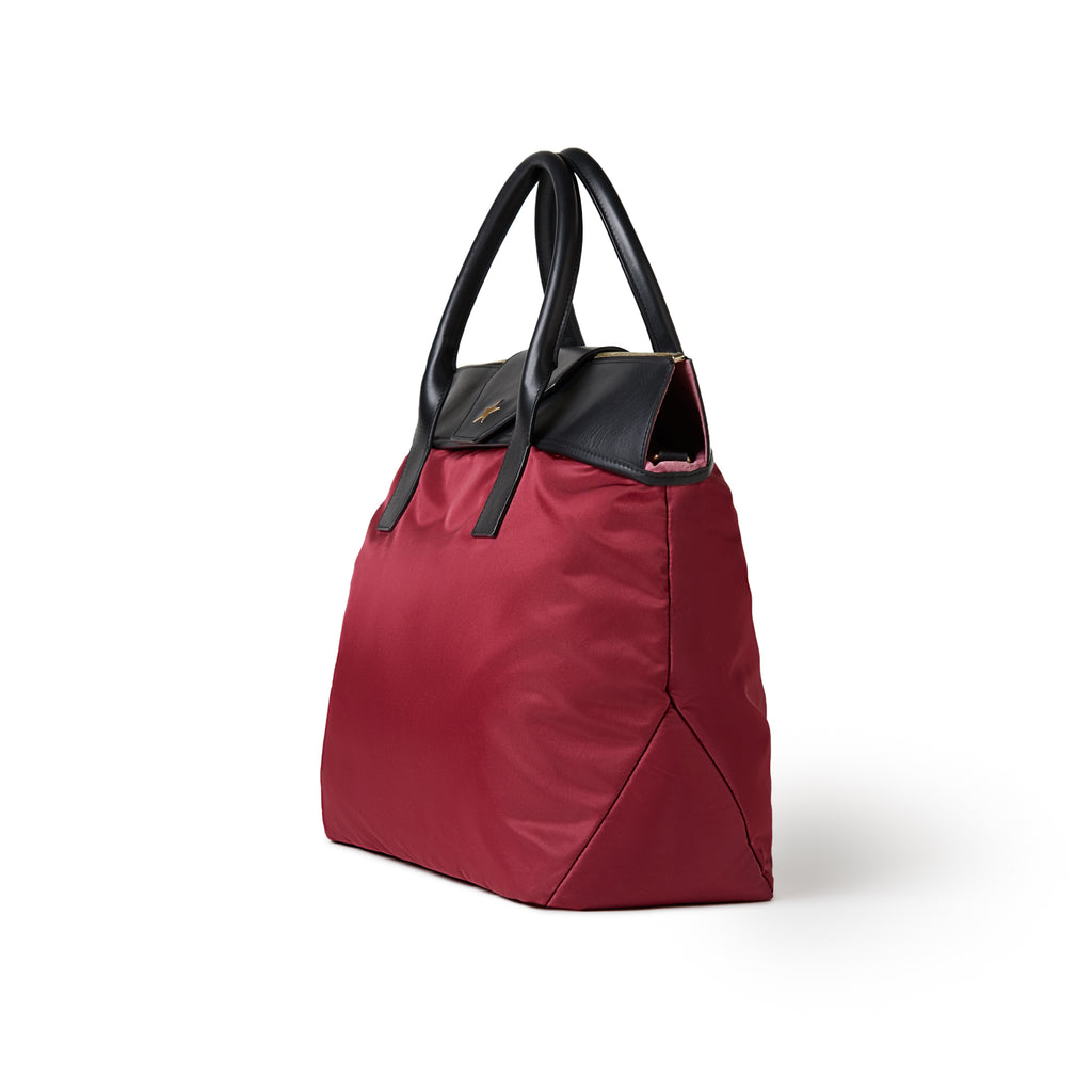 Alessia Large Nylon Tote Burgundy Red / Black