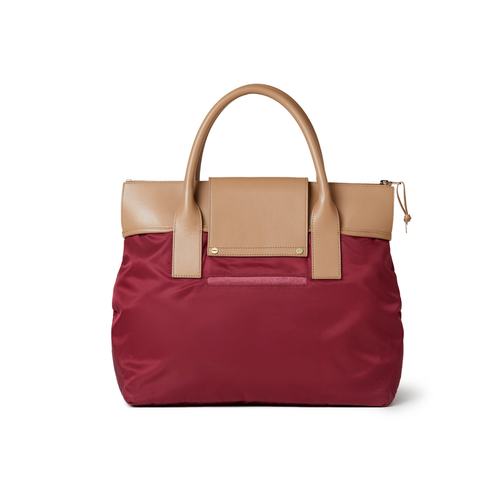 Alessia Large Nylon Tote Burgundy Red / Tan