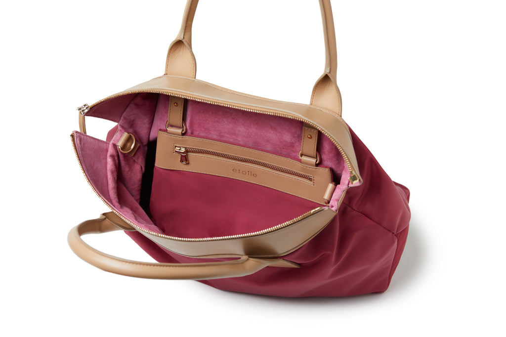 Rachel Medium Nylon Tote Burgundy Red / Tan