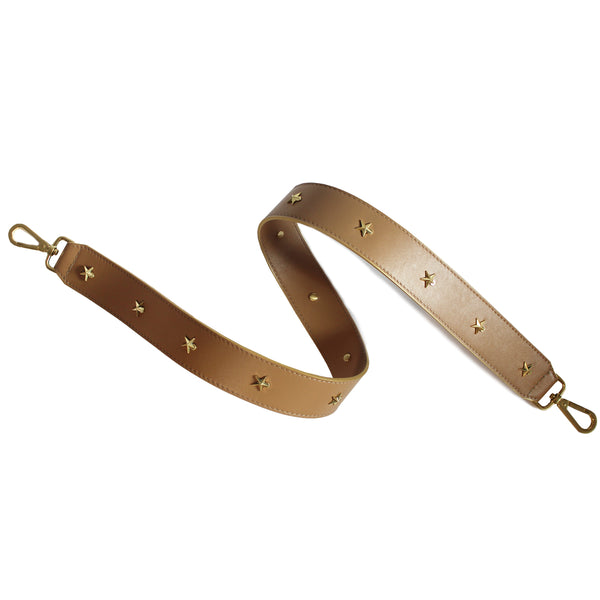 Star Studded Tan Leather Shoulder Strap