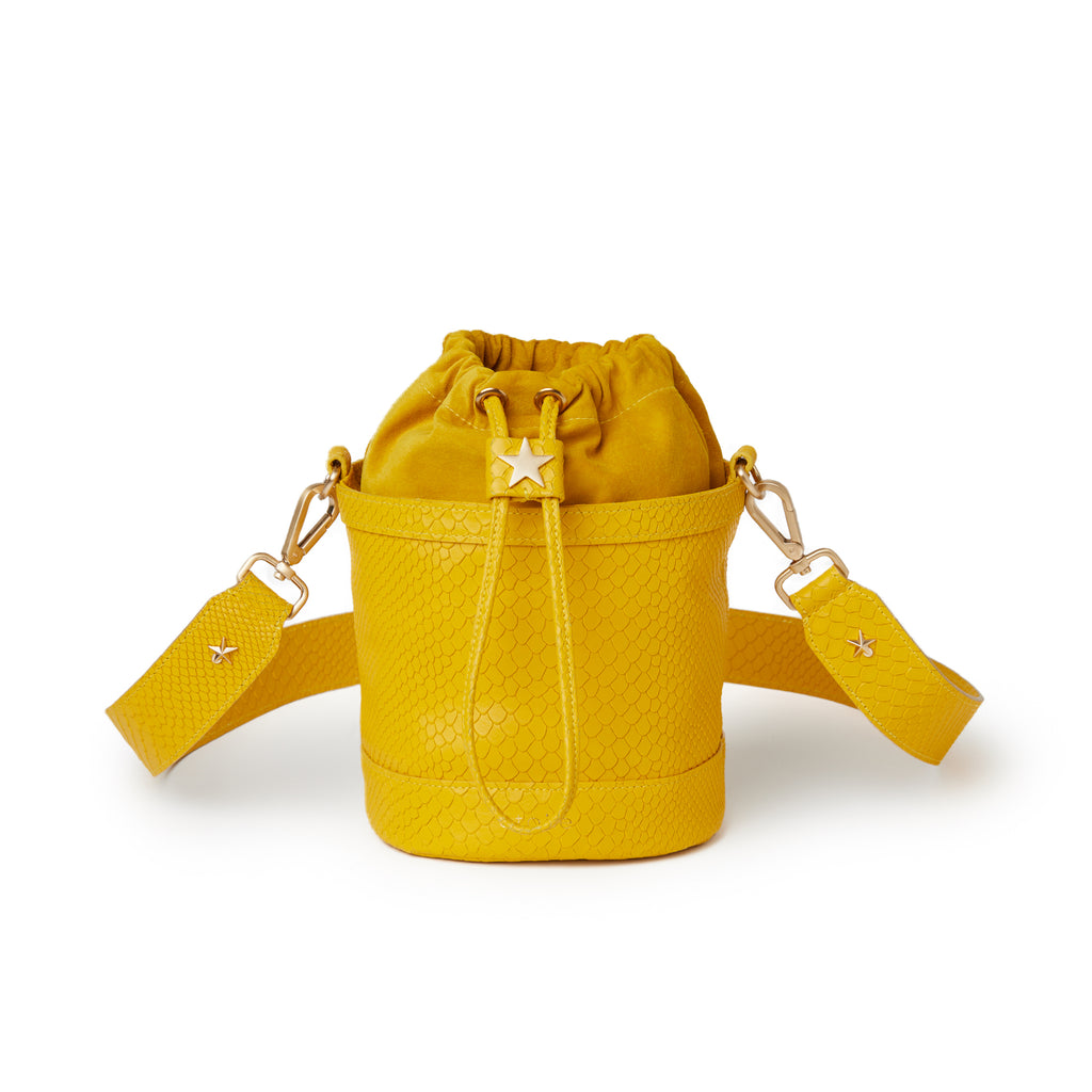 Natalie Bucket Embossed Yellow Boa