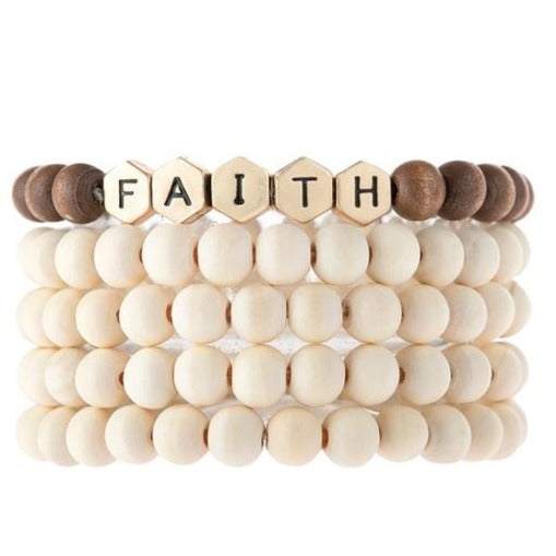 Faith | Wood Bead Stack Bracelet | Ivory