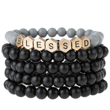Blessed | Wood Bead Stack Bracelet | Black