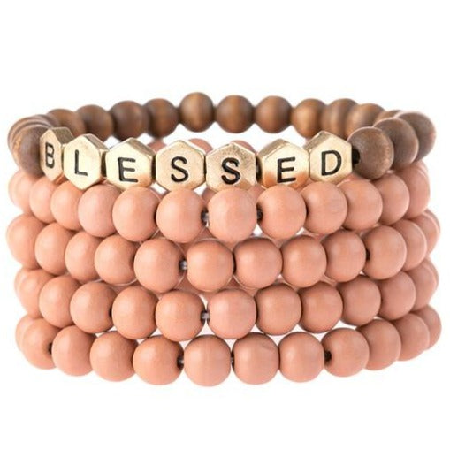 Blessed | Wood Bead Stack Bracelet | Pink