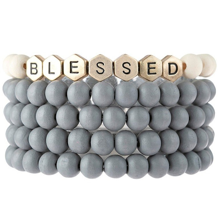 Blessed | Wood Bead Stack Bracelet | Gray