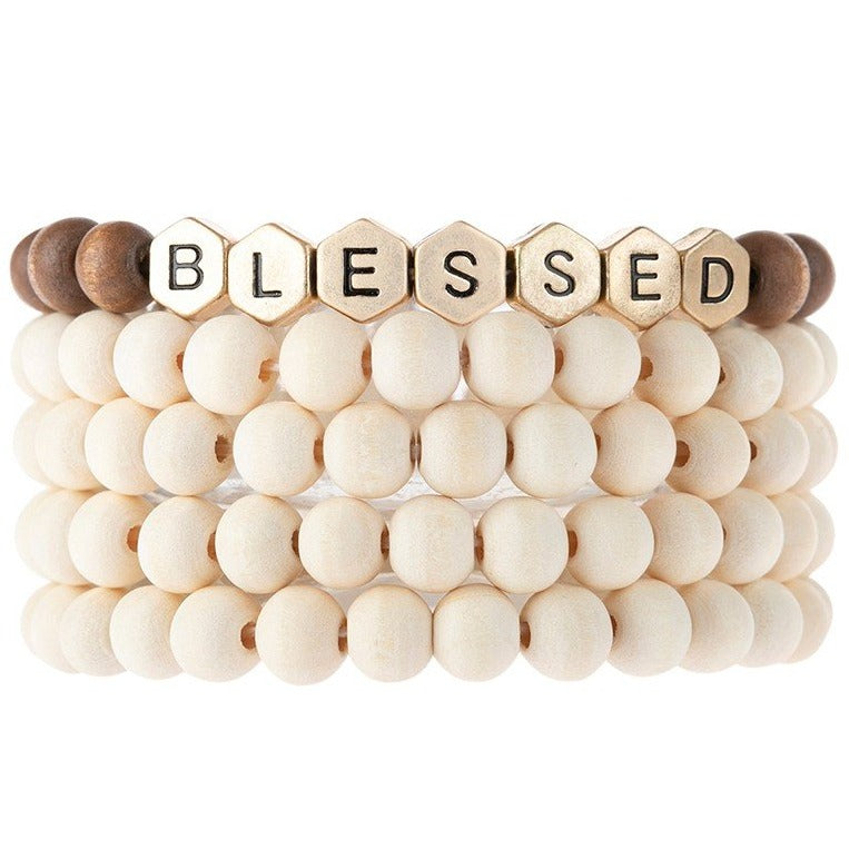Blessed | Wood Bead Stack Bracelet | Ivory