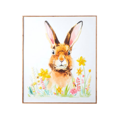 Bunny in the Flowers | Carved Wood Wall Art