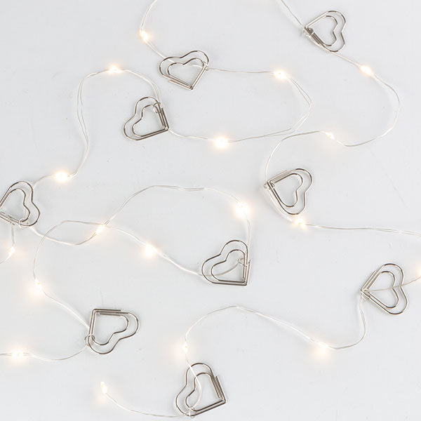 Silver Wire Hearts LED Garland | 20' | Battery Operated
