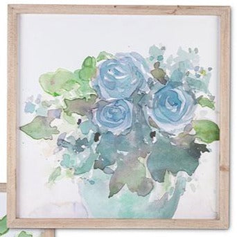 Blue Watercolor Floral Wall Art