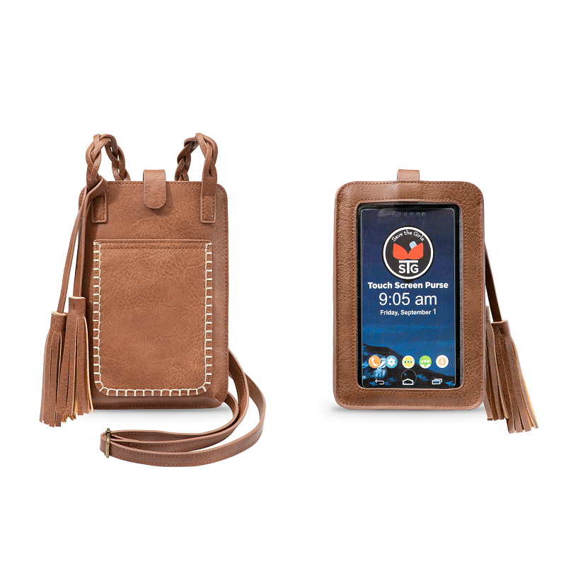 Crossbody Clutch | Smart Phone Touchscreen | Pecan Brown