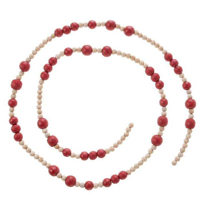 Natural & Red Wood Bead Garland | 5'