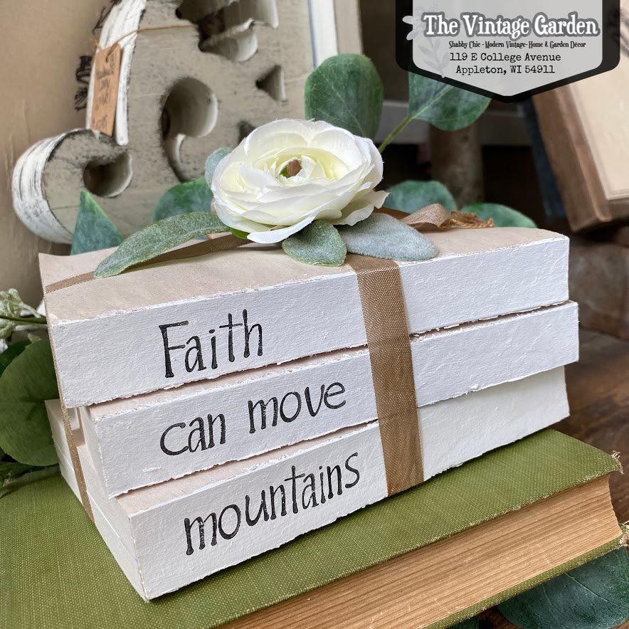 Faith Can Move Mountains Stacked Books