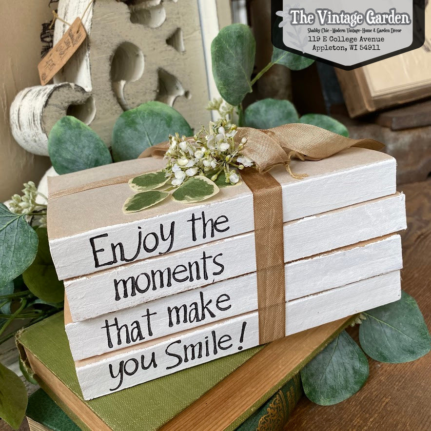 Enjoy the Moments -- Stacked Books
