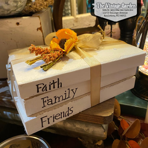 Faith, Family, Friends | Handstamped Book Stack