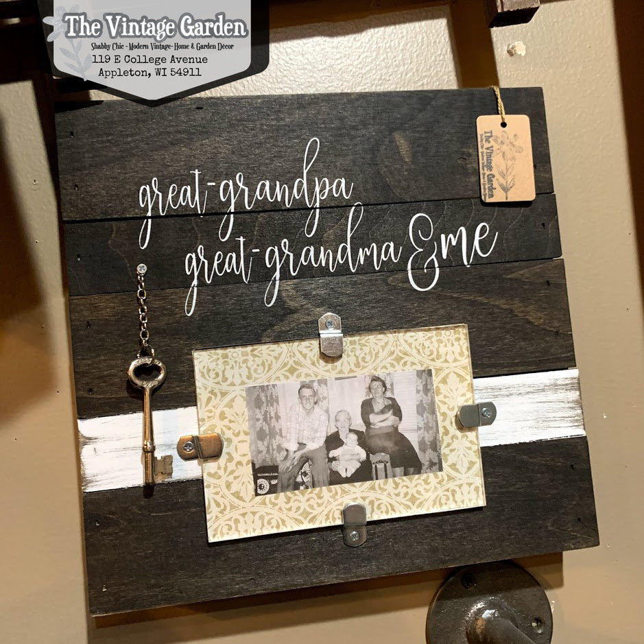Handmade 'Great Grandma, Great Grandpa & Me' Frame