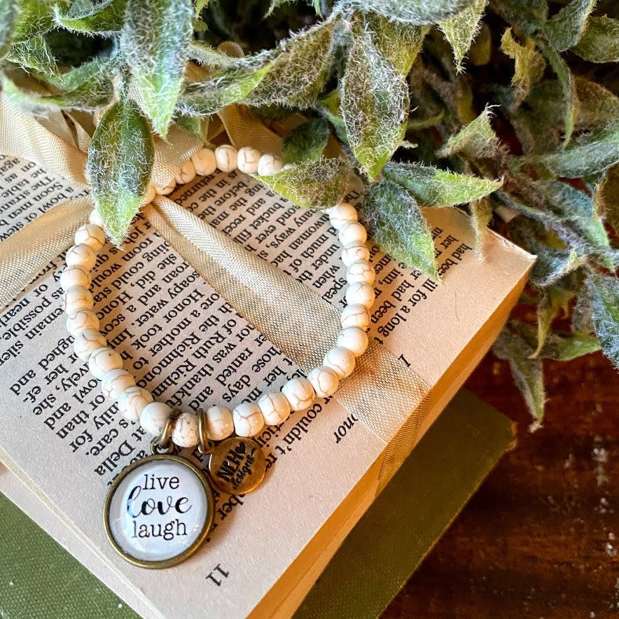 Live Love Laugh | Natural Beaded Bracelet